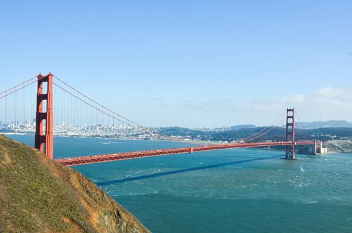Usa, America, Bridge, San Francisco, View, Viewpoint
