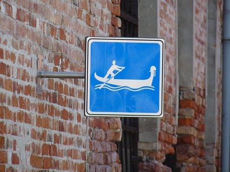 Venice, Pictogram, Signage, Gondolier, Gondola, Laguna