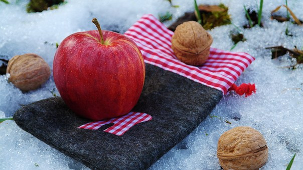 Apple, Nuts, Deco, Still Life, Snow, Winter, Ice