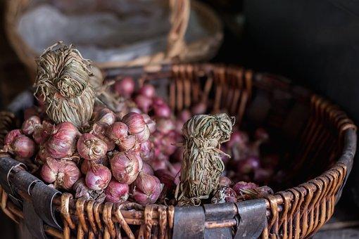 Onion, Basket, Red Onion, Food, Spice, Plant, Harvest