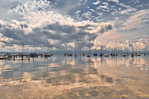 Anchorage, Lake, Boats, Chiemsee, Water, Sailboats