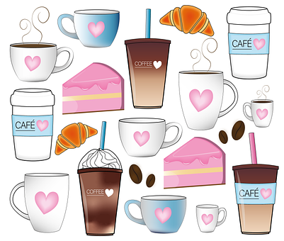 Coffee, Drink, Food, Cafe, Cake, Croissant, Coffee Cup