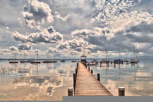 Jetty, Boats, Clouds, Water, Reflection