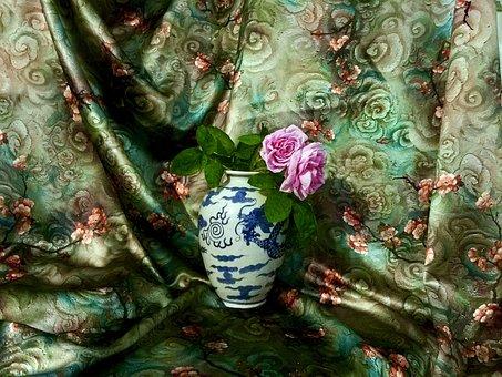 Chinese Vase, Rose, Silk Cloth, Chinese Silk