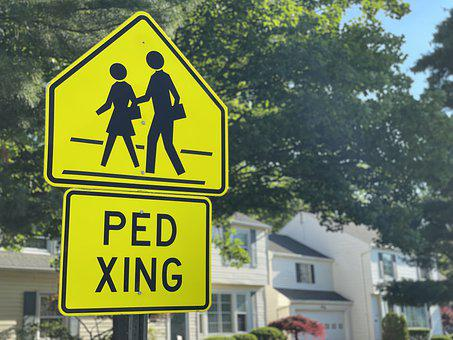Sign, Signage, Safety, Crossing, Caution, Pedestrian