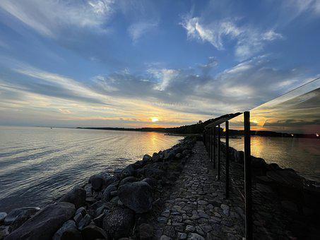 Ocean, Sea, Sunset, Dusk, Afterglow, Sky, Clouds