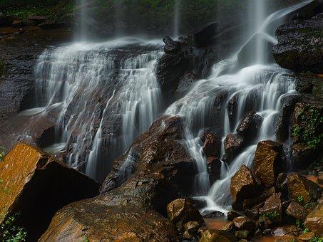 Waterfalls, Rocks, Nature, Landscape, Water Flow, Cliff