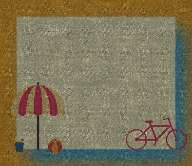 Bike, Umbrella, Beach, Childish, Toys, Background