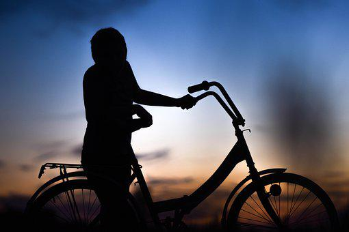 Bicycle, Child, Sunset, Silhouette, Shadow, Boy, Kid