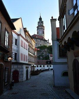 Town, Alley, Dawn, Krumlov, Czech, Street, Road