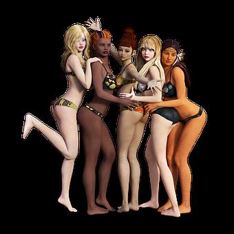 Women, Underwear, Group, Diversity, Different