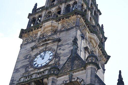 Clock, Town Hall, Building, Tower, Landmark, Sheffield