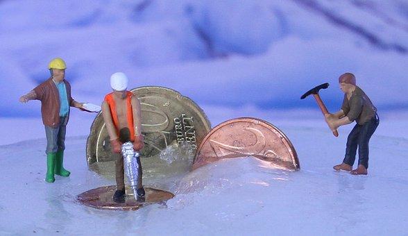 Construction Workers, Money, Coins, Miniature Figures
