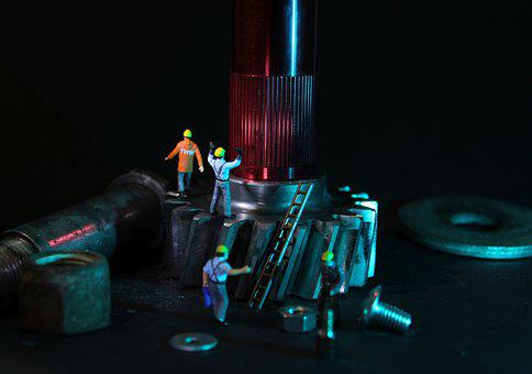 Mechanical Engineering, Gear, Miniature Figures, Repair