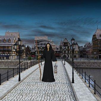 Bridge, Death, Fantasy, Ghost, Gothic, Skeleton, Road