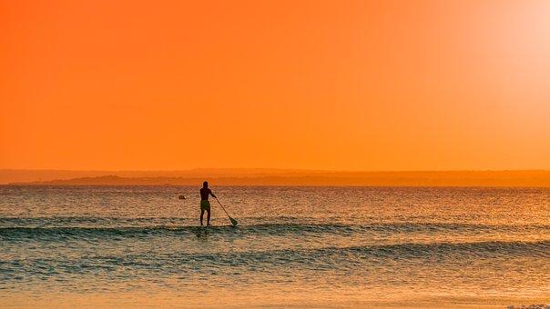 Man, Paddle, Sea, Waves, Stand Up Paddling, Sunset