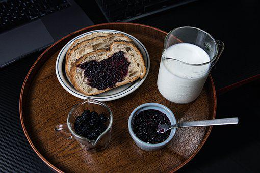 Mulberry, Bread, Milk, Jam, Spread, Berry, Fruit, Food