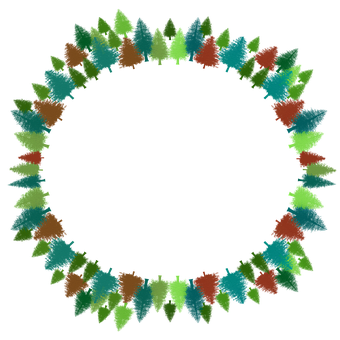 Pines, Trees, Forest, Wreath, Frame, Stationary