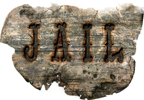 Jail, Sign, Wood, Old West, Vintage, Aged, Isolated