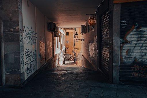 Alley, Corridor, Building, Houses, Dark, City