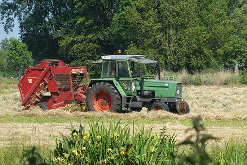 Hay Picker, Tractor, Farm, Area, Agricultural Machinery