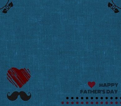 Father's Day, Border, Background, Heart, Card, Blue