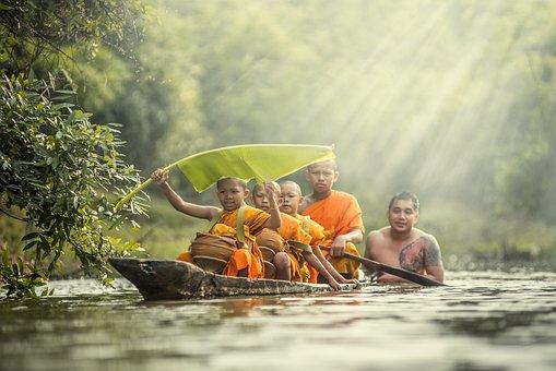 Monks, Children, Boat, River, Paddling, Kids, Boys