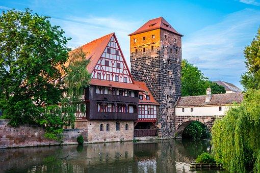 Town, River, Nuremberg, Bridge, Architecture