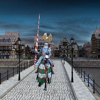 Knight, Horse, Bridge, Town, Middle Ages, Armor