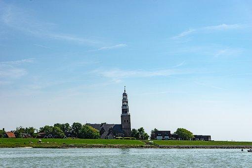 Steeple, Tower, Building, Lake, Hindeloopen, Holland