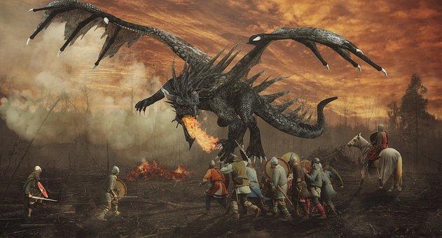 Dragon, Knights, Forest, Fire, Smoke, Mystical, Fantasy