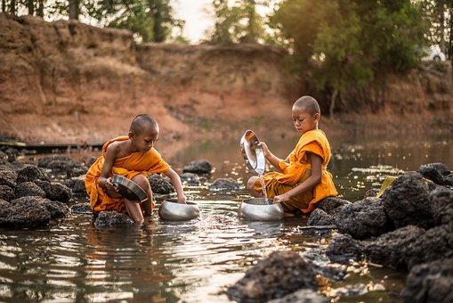 Monks, Children, River, Fetching Water, Rocks, Stones