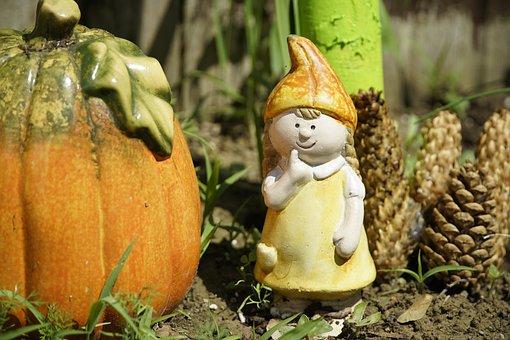 Dwarf, Gnome, Pumpkin, Pinecones, Figure, Cute, Garden