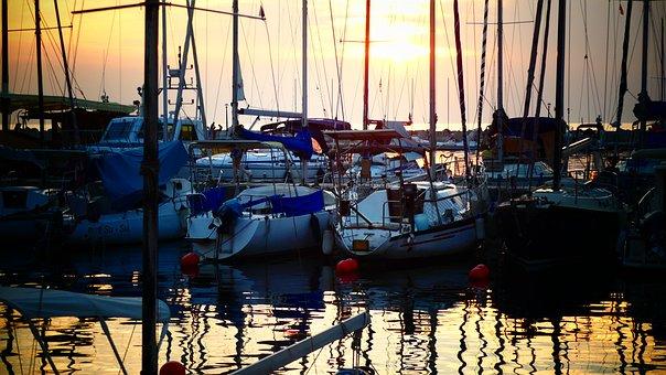 Port, Boats, Sunset, Piran, Slovenia, Harbor, Masts