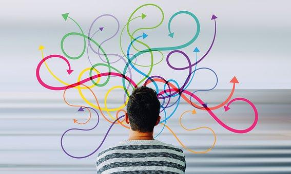 Man, Head, Arrows, Multitasking, Silhouette, Think
