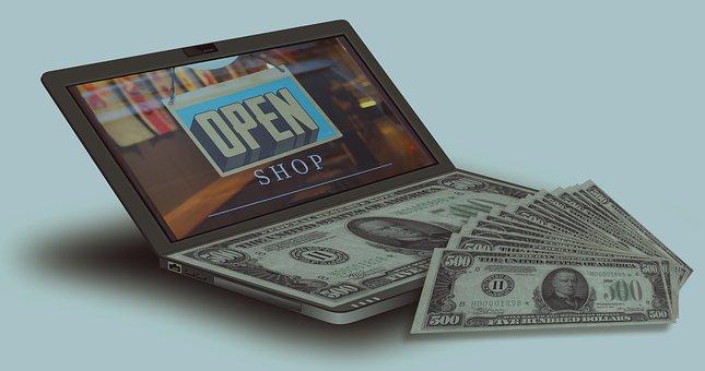 Dollars, Bills, Money, Currency, Business, Laptop