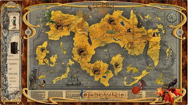 Map, Fantasy, Hobbits, Elves, Mystical, Dragons, Write