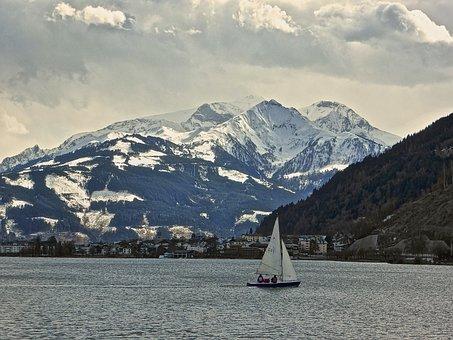 Mountains, Sailboat, Lake, Snow, Alps, Outdoors, Nature
