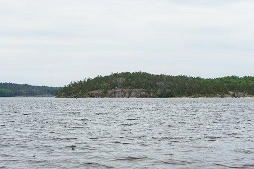 Lake, Island, Water, Ladoga, Mountains, Nature