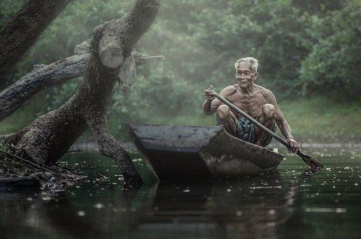 Man, Senior, Boat, River, Lake, Paddling, Old Man