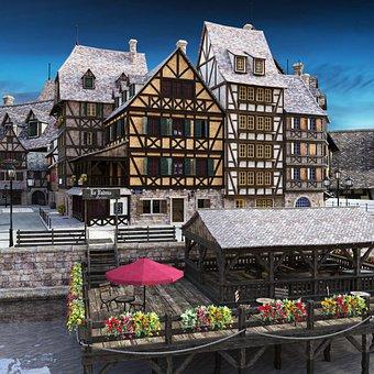 Old Town, Bridge, Half-timbered House, Historic