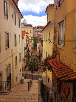 Town, Alley, Stairs, Street, Lisbon, Portugal, Houses