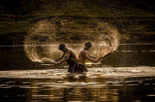 Boys, River, Splash, Water, Fishing, Tradition, Culture