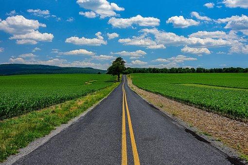 Road, Fields, Countryside, Pennsylvania, Pavement