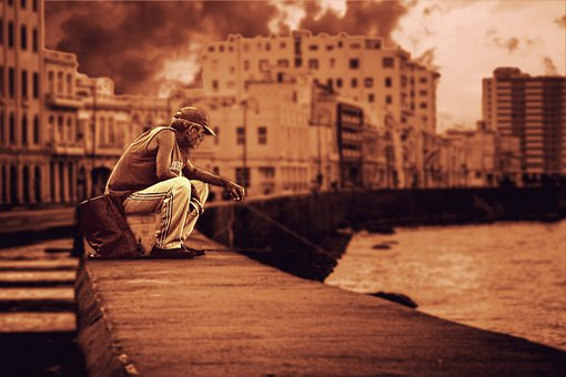 Port, Man, Lonely, Old Man, Senior, Elderly, Sad, Coast