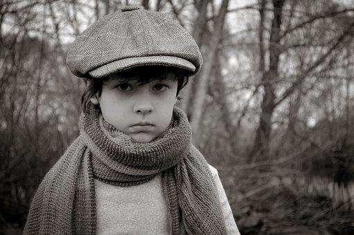 Kid, Boy, Fashion, Monochrome, Cap, Scarf, Child, Young
