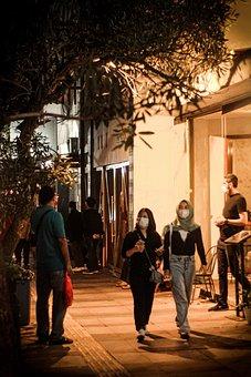 Sidewalk, Street, Women, Walk, Girls, Mask, Face Mask