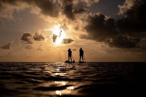 Standup Paddleboarding, Sea, Sunset, Silhouette