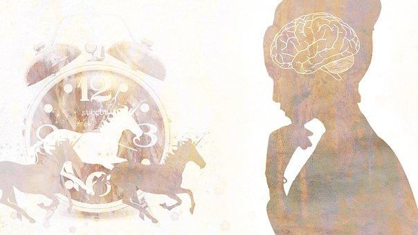 Woman, Mind, Thinking, Clock, Brain, Lady, Reflections