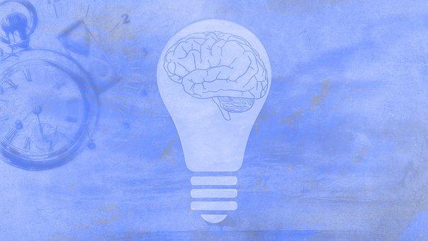 Light Bulb, Brain, Clock, Time, Nostalgic